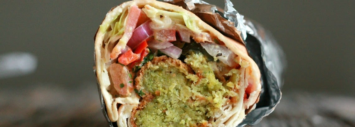 falafel wrap for lunch at impact hub islington